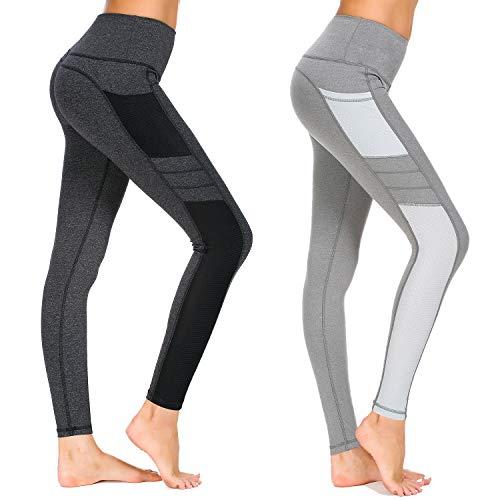 Munvot Damen Sporthose Sport leggings Tights, A1988 / 2er Pack (Dunkel Grau+hell Grau), L (DE40-42)