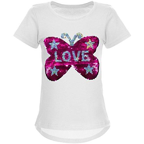 epailletten T-Shirt mit Tollem Schmetterling Motiv 22032, Farbe:Weiß, Größe:104 (Weißes Kleid Mädchen, Größe 8)