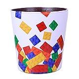 TETAKE Papierkorb Kinder mit Motiv Bausteine, 10L Papierkörbe Kinderzimmer, Abfalleimer aus Leder, Wasserdicht Mülleimer ohne Deckel für Kinderzimmer Wohnzimmer Schlafzimmer Büro