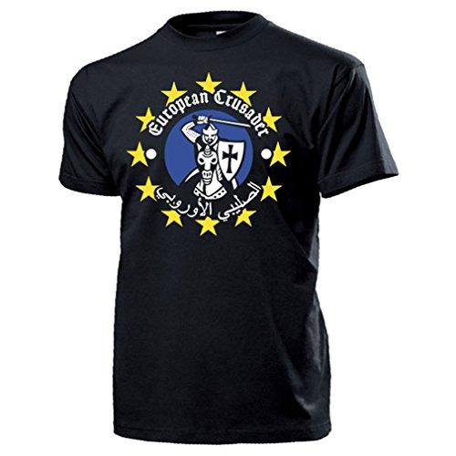 European Crusader Europa Ritter Abendland Arabisch Krieg Wiederstand Schwert Schild Mittelalter - T Shirt Herren XL #16873