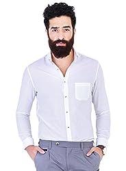 Mr Button The New Sun Cotton Shirts For Men, Long Sleeve, Cut Away Collar, 100% Premium Mercerised Cotton Fabric, Latest Modern Fashion, Branded Stylish (Brilliant White)