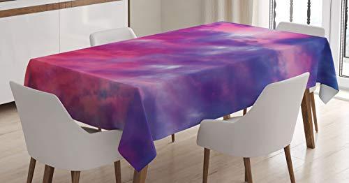 Abakuhaus paesaggio tovaglia, magico nuvoloso tramonto, antimacchia stampata con la tecnologia all'avanguardia lavabile, 140 x 240 cm, viola