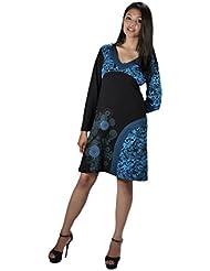Longue robe à manches avec un design col en V et imprimé de fleurs