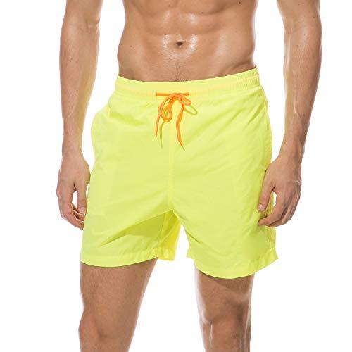 anqier Badeshorts für Männer Badehose für Herren Jungen Schnelltrocknend Schwimmhose Strand Shorts (Gelb, M(EU)-MarkeGröße:XL-Taille 80-90cm)