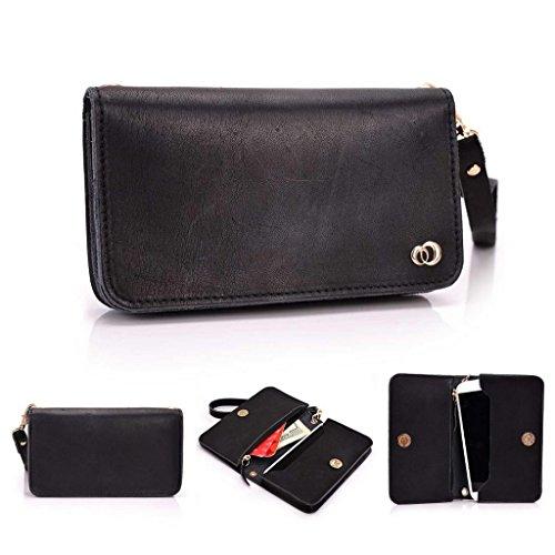 Kroo Pochette Cou en cuir fait avec dragonne pour Smartphone 12,7cm Housse de transport pour Samsung Galaxy Alpha Faisceau/2 peau noir