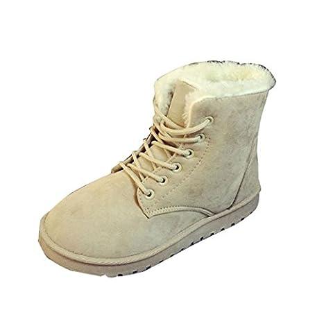 Chaussures femme, Kolylong 2016 Hiver Bottes De Neige Fourrure Doublée Antidérapage Plat Talon (36/22.5-23cm, Beige)