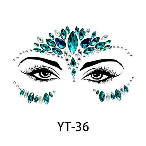 Wovemster Face Rhinestone Sticker Gesicht Schmucksteine - Glitzersteine Zum Aufkleben Gesicht Juwelen Aufkleber mit Schmucksteine für Festival(YT-36)
