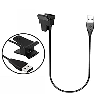 LeSB Fitbit Alta Charger, Fitbit Alta Charging Cable Replacement USB Charger Clip USB Charger Cord for Fitbit Alta Watch Smart Fitness [No Reset Button] (Black)
