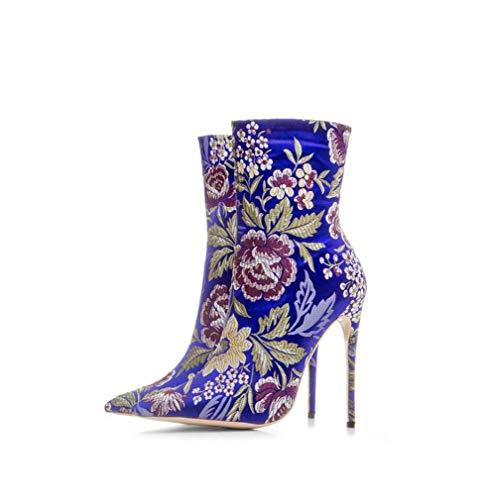 Damen Handgefertigte Plattform Faux Wildleder Stiefeletten Round Toe Stiletto High Heels Seitlicher Reißverschluss Tägliche Abnutzung Stöckelschuhe,Blue,42EU 6 Inch Stiletto Pumps