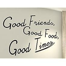 Buoni amici, buon cibo, Good Times–Famiglia Cuore vita Kids Home Love Quote Vinile Parete Adesivi Decalcomanie art decor fai da te