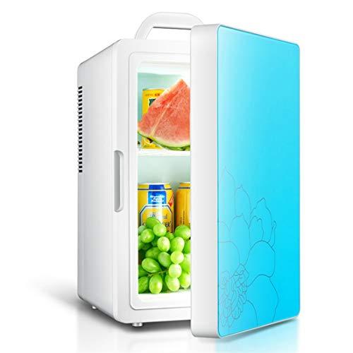 Auto nach Hause Kleiner Kühlschrank mit kleinem Verwendungszweck, 16L-Kapazität, Mini-Dual-Core-Einzelklimagerät, Kühlgerät, Glasmaterial ! (Color : Blue) - Doppel-tür Kompakt Kühlschrank