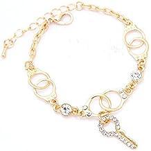 Pulsera de chica - TOOGOO(R) Pulsera y brazalete de cristal austriaco de forma de llave chapado en oro de mujeres / chicas de moda nueva Joyas de regalo para mujer