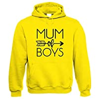 Mum of Boys Arrow Hoodie | Mothers Day Best Mum Top Parent Family Mumlife Slugs Snails Grubby Boys Mess Cowboys Indians | Birthday Present Her Wife Mother Partner Fiance Sister