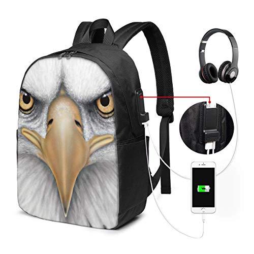 Sharp Eye Eagle Wasserdichter Laptop-Rucksack mit USB-Ladeanschluss Kopfhöreranschluss Passend für 17-Zoll-Laptop-Computer-Rucksäcke Travel Daypack Schultaschen für Männer Frauen -