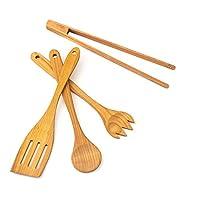 Tuuli Kitchen 4 Piece Wooden Kitchen Utensils Set Cherry Wood (BBQ Tongs, Cooking Spoon, Fork, Spatula)