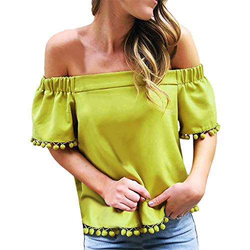 Chanpning Womens Short Sleeve Schulterfrei Solide Tassel T-Shirt e Lose Top Bluse Bekleidung Tops T-Shirts Shirts Blusen Bluse Tuniken Poloshirts Röcke Elegant Noble Warm