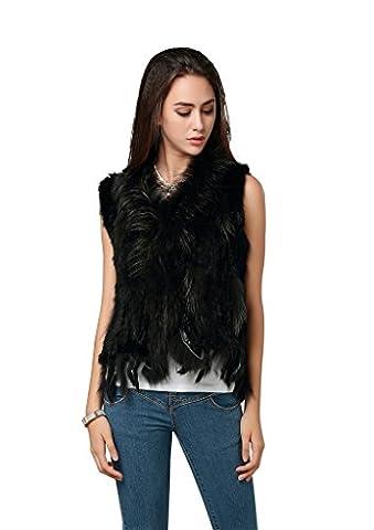 Furcoco® Damen echte Kaninchen Pelz gestrickt Weste mit Fransen Größe S schwarz
