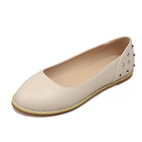 VogueZone009 Femme Tire Fermeture D'Orteil Rond Non Talon Couleur Unie Chaussures à Plat Abricot