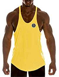 b4dd0ae8f06d88 YeeHoo Men s Muscle Gym Workout Stringer Tank Tops Bodybuilding Fitness  Cotton Stringer Vest Tank Top T