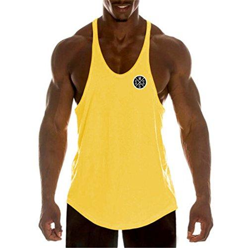YeeHoo Deportivo Gym Camisetas Sin Manga Tank Tops de Tirantes Hombre Suelto Chaleco Fitness Gimnasio Algodón