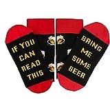 bobo4818 Novelty Funny Saying Crew Socken, Wenn Sie Dies Lesen KöNnen Bring Me Bacon Bier Wein Kaffee Lebensmittelsocken for MäNner, Frauen (Rot)