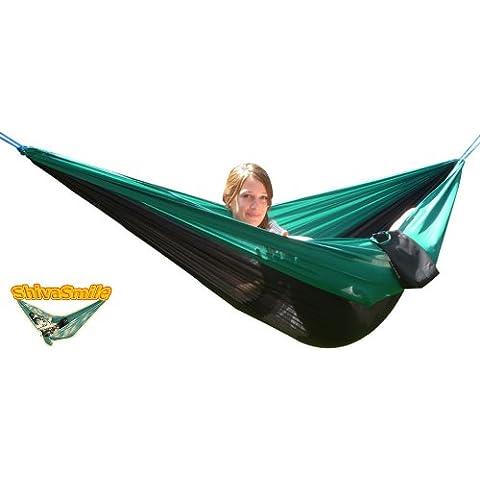 Amaca in tela, colore verde e nero, con 5 m di corda integrata, 240 x 150 cm