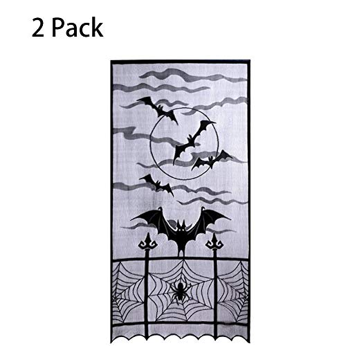 Schwarze Fledermäuse Halloween Spitze Fenstervorhang, 40 Von 84 Zoll, Halloween Spooky Lace Vorhang Panel Für Halloween Party Fenster Dekorationen ()