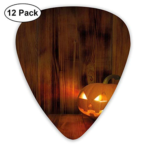 Celluloid Guitar Picks - 12 Pack,Abstract Art Colorful Designs,Jack O Lanterns Scary Halloween Photograph In A Wooden Interior Fall Themed Image,For Bass Electric & Acoustic Guitars.