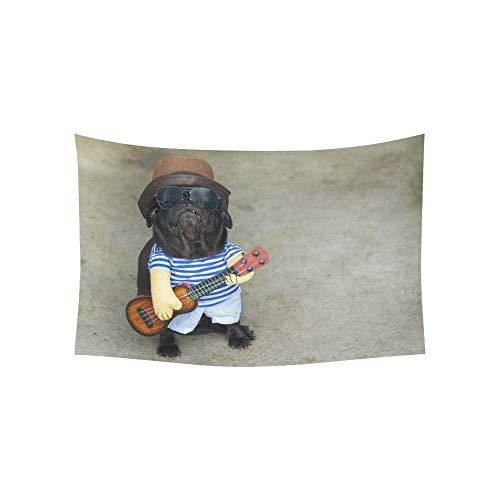 Musiker Kostüm Mädchen - Wandteppich Indy Musiker Gitarrist Mops Hund lustige Mops Wandteppiche Wandbehang Blume psychedelischen Wandteppich Wandbehang indischen Wohnheim Dekor für Wohnzimmer Schlafzimmer 60 X 40 Zoll