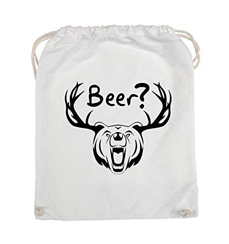 Comedy Bags - Beer? - BÄR GEWEIH - Turnbeutel - 37x46cm - Farbe: Schwarz / Pink Weiss / Schwarz
