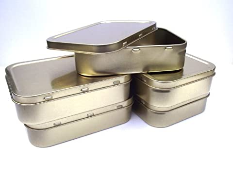 5 x 2oz Gold Airtight Tobacco/Survival Storage Tins With Seal