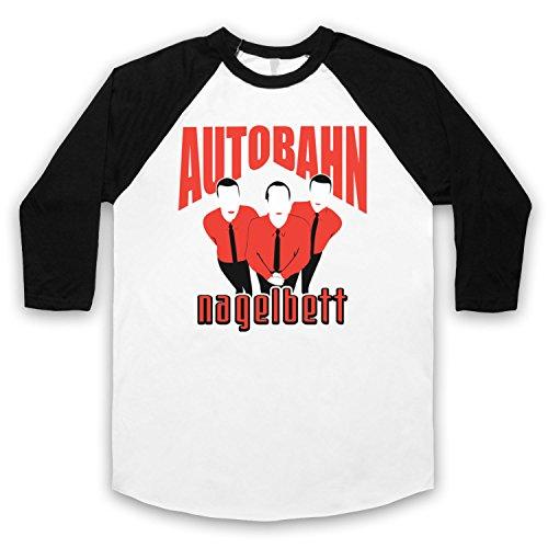 Inspiriert durch Big Lebowski Autobahn Nagelbett Unofficial 3/4 Hulse Retro Baseball T-Shirt Weis & Schwarz