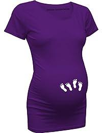 German Fashion Brand | Umstandsmode T-Shirt Babyfüße Zwillinge Baby Füße (XXL, lila)
