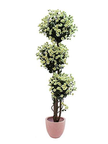 artplants Set \'Kunstbaum mit Margeriten + Gratis UV Schutz Spray\' - Kunstpflanze Margeritenbaum BIRGA, Kunststämme, Blüten, weiß, 160 cm