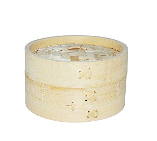 Vaporera de bambú para cocinar al vapor, cocedor 1 nivel con tapa, cesta de bambú, recipiente de bambú, oriental, cocer al vapor (15x9cm)