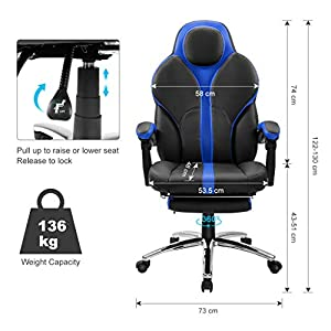41YkNUhMnoL. SS300  - LANGRIA-Silla-Gaming-de-Ordenador-para-Gamers-Especial-Videojuegos-Ergonmica-y-Ajustable-Tapizada-de-Piel-Falsa-Acolchada-con-Reposapis-Reposabrazos-y-Reposacabezas-Modelo-Cobra-Negro-y-Azul