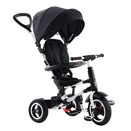 GSDZSY Faltbares Kinder Dreirad, Mit Abnehmbarem Schiebegriff, Markise, Stilvoll Und Komfortabel, 12-72 Monate,Black