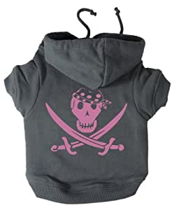 K9 Pink Pirate Print Hoodie Grey Xtra Small