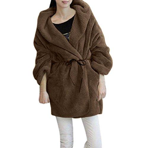 Mäntel Hoodie Damen Sunday Frauen Winter Warm Mit Kapuze Flauschigen Fleece Faux Poncho Jacke Oberbekleidung Top (Khaki, Einheitsgröße)