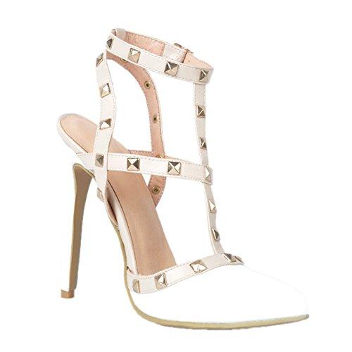 Kolnoo Damen Handgefertigte Slingback Spikes High Heel Party Fashion Sommer Sandalen Schuhe White EU45