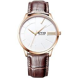 Alienwork Quarz Armbanduhr elegant Quarzuhr Uhr modisch weiss braun Leder YH.EET1033L-03