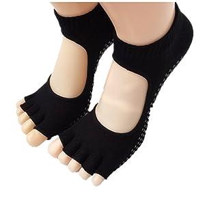 Maybesky Yoga Socken zurück Offenen Zehen Baumwolle Rutschfeste Finger Socken Weibliche Split Socken Pilates, Anti-Rutsch-Slip-Socken