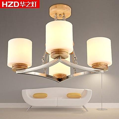 BBSLT Luces de techo de dormitorio de madera sólida de madera de arte nórdico de madera lámpara lámparas y araña de madera colgante techo lámpara restaurante salón 5W led de luz 460 *
