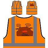 GLÜCKLICHE FROHE WEIHNACHTEN WEIHNACHTSROT LUSTIGE NEUHEIT NEU Personalisierte High Visibility Orange Sicherheitsjacke Weste l67vo