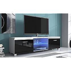 Comfort Home Innovation – Meuble Bas TV LED, Salon-Séjour, Blanc Mate et Noir Laqué, Dimensions: 150 x 40 x 42 cm de Profondeur.