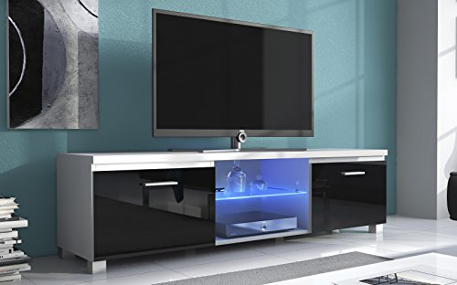Home Innovation- TV mobile LED - porta TV, bianco mate e nero laccato, dimensioni: 150 x 40 x 42 cm di profondità.