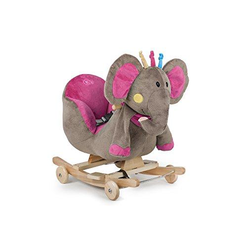 Kinderkraft Baby Schaukel Schaukeltier Schaukelpferd Plüsch Spielzeug Wippe Holz Elefant Rosa