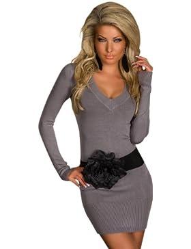 4968 Damen Langarm-Minikleid aus Strick Pullover dress Kleid verfügbar in 2 Größen und in 6 Farben