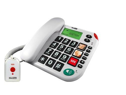 MaxCom KXT481SOS: Seniorentelefon mit Funk-Notruf-Sender, schnurgebundenes Festnetztelefon mit Notrufknopf, großen Tasten und Adapterstecker; extra laut, hörgerätekompatibel