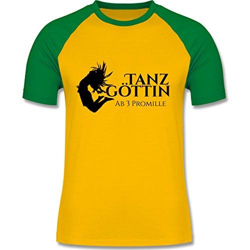 Sprüche - Tanzgöttin ab 3 Promille - zweifarbiges Baseballshirt für Männer Gelb/Grün